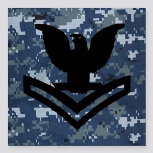 "Navy-Rank-PO2-Tile-NWU Square Car Magnet 3"" x 3"""