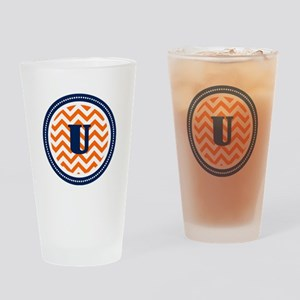 Orange & Navy Drinking Glass