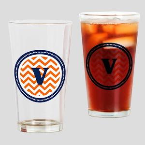 Orange & Navy Drinking Glass