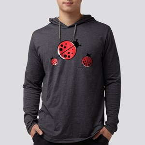 Red Ladybugs Mens Hooded Shirt