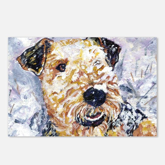 Airedale terrier first snow Postcards (Package of