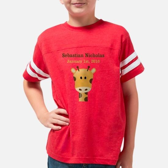 CUSTOM Giraffe w/Baby Name an Youth Football Shirt