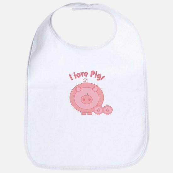 I Love Pigs Bib