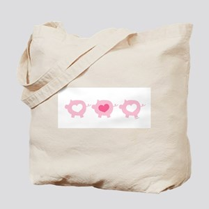 Pigs and Hearts Tote Bag