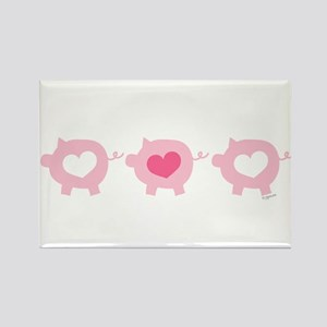 Pigs and Hearts Rectangle Magnet