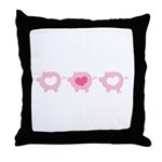 Pigs and Hearts Throw Pillow