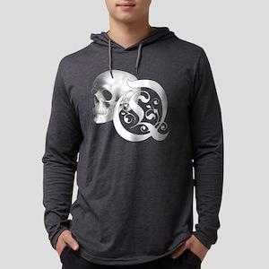 Gothic Skull Initial Q Mens Hooded Shirt