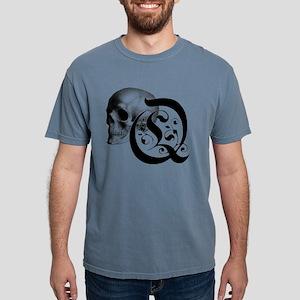 Gothic Skull Initial Q Mens Comfort Colors Shirt