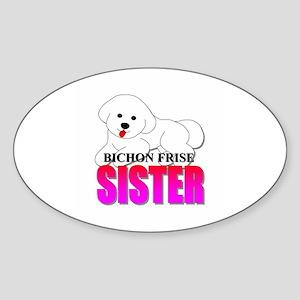 Bichon Frise Sister Oval Sticker