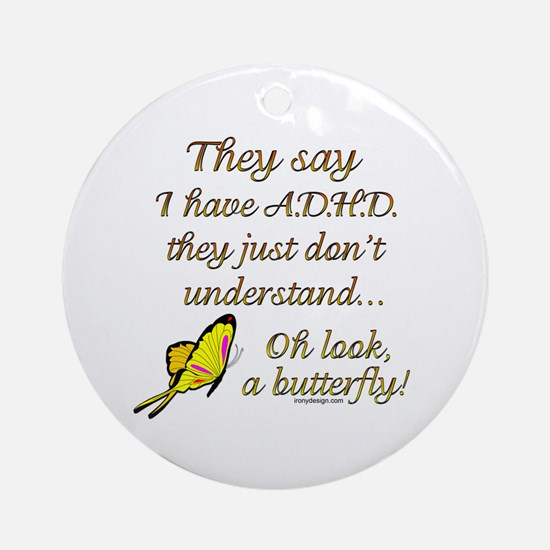 ADHD Butterfly Ornament (Round)
