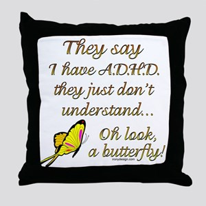 ADHD Butterfly Throw Pillow