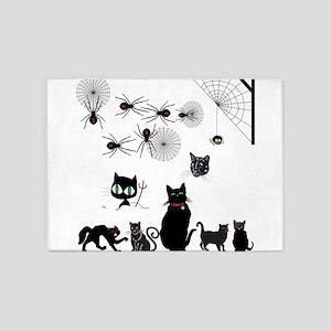 Black Cats Creepy Spiders 5'x7'Area Rug