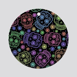 Day Of The Dead Pattern Ornament (Round)
