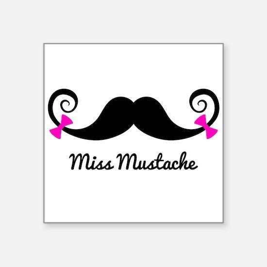 Miss Mustache design with pink bows Sticker