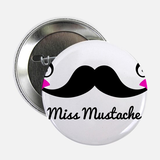 "Miss Mustache design with pink bows 2.25"" Button"
