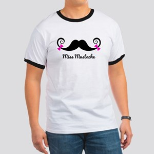 Miss Mustache design with pink bows T-Shirt