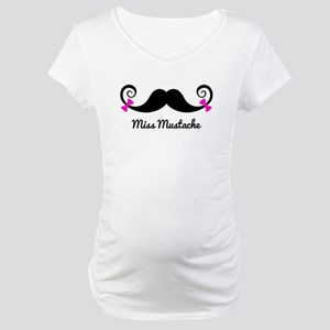 Miss Mustache design with pink bows Maternity T-Sh