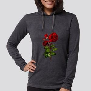 Vintage Red Rose Womens Hooded Shirt