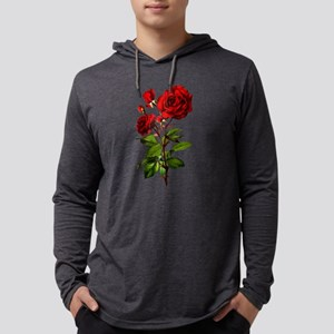 Vintage Red Rose Mens Hooded Shirt