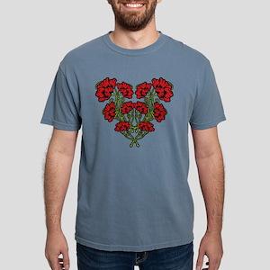 Red Art Nouveau Flowersg Mens Comfort Colors Shirt