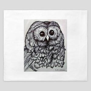 Owl! Wildlife, bird art! King Duvet