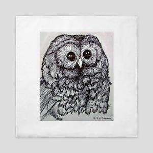 Owl! Wildlife, bird art! Queen Duvet