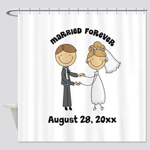 Personalized Bride and Groom Shower Curtain