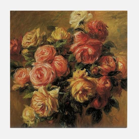 Roses in a Vase by Renoir Tile Coaster