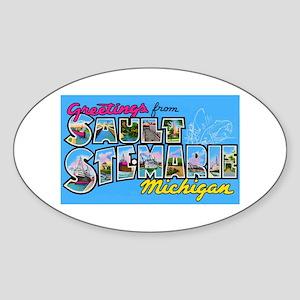 Sault Ste Marie Michigan Oval Sticker