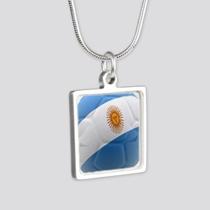 Argentina world cup soccer ball Silver Square Neck