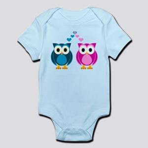 Cute Owls in Love Blue and Pink Body Suit