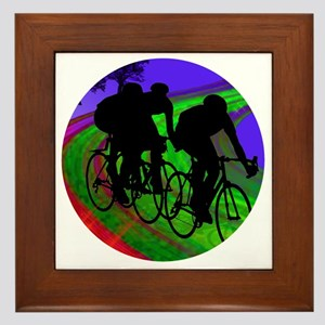Cycling Trio on Ribbon Road Framed Tile