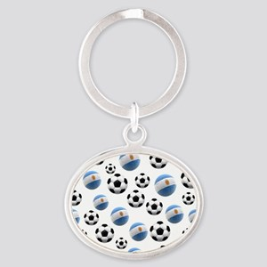 Argentina world cup soccer balls Oval Keychain