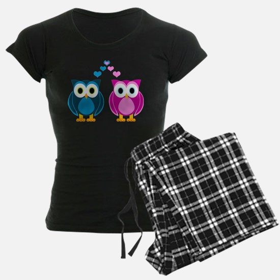 Cute Owls in Love Blue and Pink Pajamas