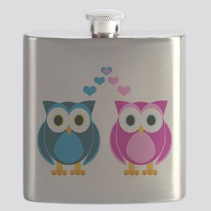 Cute Owls in Love Blue and Pink Flask