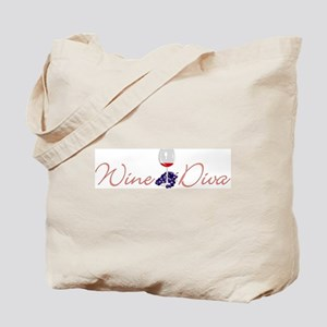 Wine Diva with Glass Tote Bag