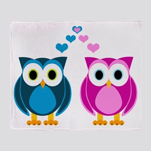 Cute Owls in Love Blue and Pink Throw Blanket