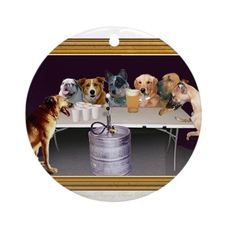 Dogs Playing Beer Pong Ornament (Round)