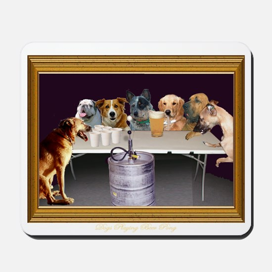 Dogs Playing Beer Pong Mousepad