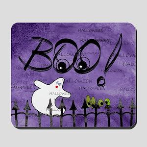 Blue-eyed Halloween Ghost Saying BOO Mousepad