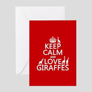 Keep Calm and Love Giraffes Greeting Card