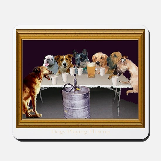 Dogs Playing Flip Cup Mousepad