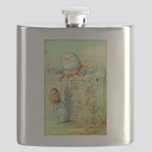 Alice and Humpty Dumpty color illustration Flask