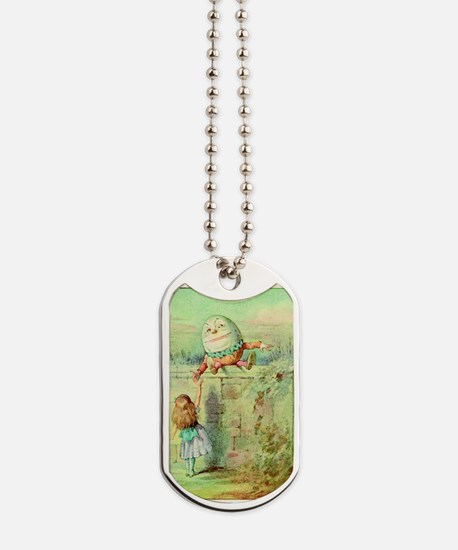 Alice and Humpty Dumpty color illustration Dog Tag