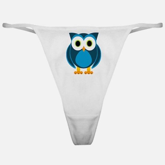 Cute Blue Cartoon Owl Classic Thong
