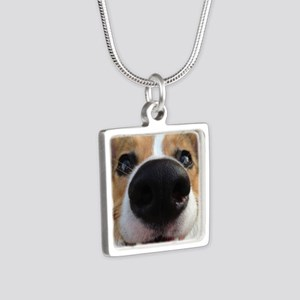 Pembroke Welsh Corgi Silver Square Necklace