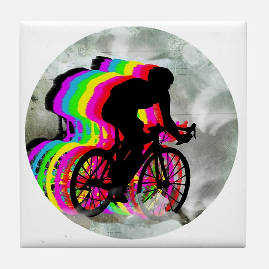 Cycling in the Clouds Tile Coaster