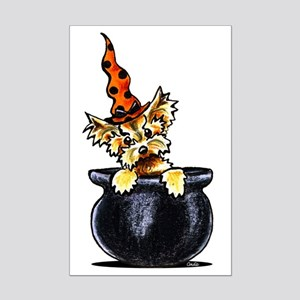 Yorkie Witch Mini Poster Print