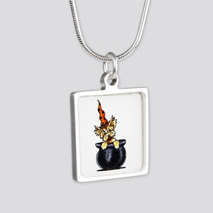 Yorkie Witch Silver Square Necklace