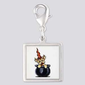 Yorkie Witch Silver Square Charm